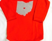 Red LONG sleeved ohio onesie. State of Ohio onesie. Ohio bodysuit.