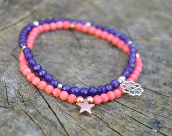 Flora. Delicate Faceted Amethyst Bracelet with Floral Charm