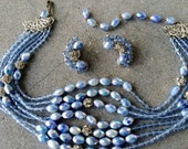 Robert signed vintage demi choker earrings set baby perwinkle blue rhinestone rondells