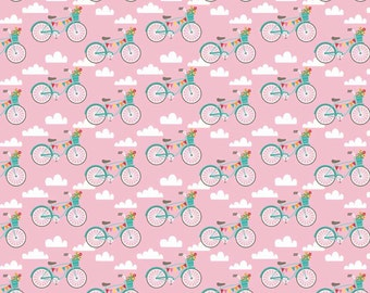 Fancy Bikes fabric in Pink by Riley Blake