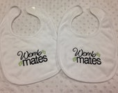 Twins - Gender Neutral Twins Womb Mates Set of 2 bibs Gift Set - Baby Boy or Girl Twin Bibs - Green and Black - Twin Gift Set