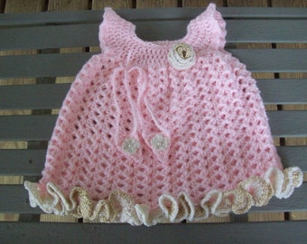Dress,Girls,Girl,Babies,Baby,Crocheted,Barefoot,Sandals,Photo,Pink,Sparkly,Gold,Gift,Newborn,Three Months,Clothing