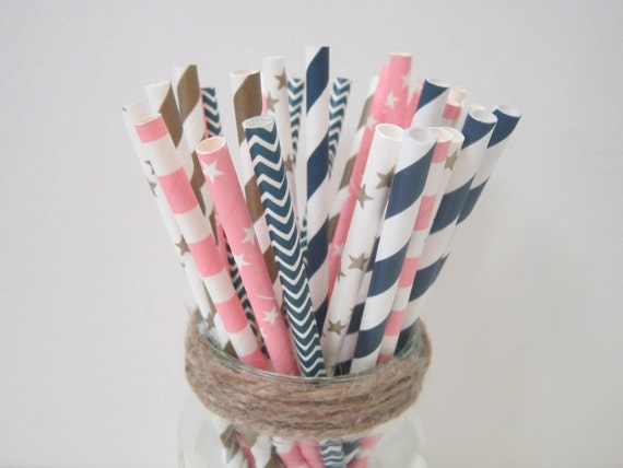 Navy Light Pink Gold Paper Straws ~ Wedding ~ Baby Shower ~ Nautical ~ Set of 24 or 48