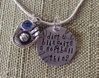 Softball bling necklace