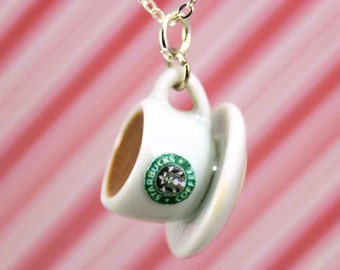 coffee necklace kawaii polymer clay charms miniature food jewelry polymer clay food necklace coffee cup necklace starbucks necklace charm
