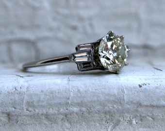 Deco Vintage Platinum Diamond Engagement Ring with Baguettes - 1.80ct.