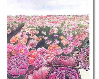 knitted peony field watercolor print