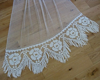 French filet lace curtain with macrame fringing