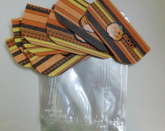 Halloween party favor bags or for trick or treat bags -set of 10 trick or treat bags with bag toppers