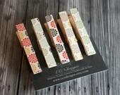 Multi-Color Flower Clothespin Magnets - Refridgerator Magnets - Fridge Magnets - Set of 5