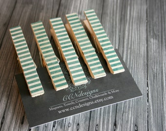 Green Stripe Clothespin Magnets, Set of 5