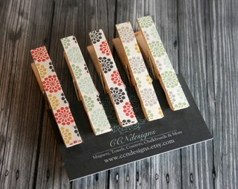 Multi-Color Flower Clothespin Magnets, Set of 5