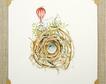hot air balloon nest print nature whimsical watercolor reproduction wall art mini adventure