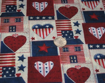 Americana Patriotic Patch Quilt Sewing Craft Red White Blue Americana Patriotic Cotton Fabric BTY