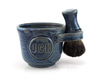 Personalized Wet Shaving Set: Black Badger Brush, Soap, Shave Mug with Initials,  Husband Gift - Custom Made in 4-6 Weeks See Item Details
