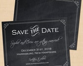 Chalkboard Save the Dates, Bordered, Old-Fashioned, Industrial Invitations: 5.5 x 4.25 - Text-Editable, Printable Instant Download