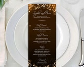 Champagne Bubbles Text-Editable Menus; 3_2/3 x 8_1/2: Fits Avery 80505 Template - Instant Download