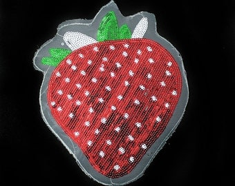 Strawberry Patch Applique with Sequins