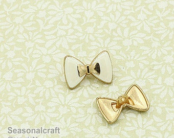 Gilded Bottons Set,White Base Color,Bow,18x12mm Diameter -(2 in a set)(FN108)