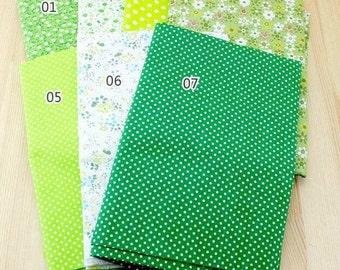 "Green Bundle Green Cotton Fabric Bundle- Green Fabric Fat Quarter Bundle, 7 Fat Quarters Pieces each 19""X19"" (QT514-M)"