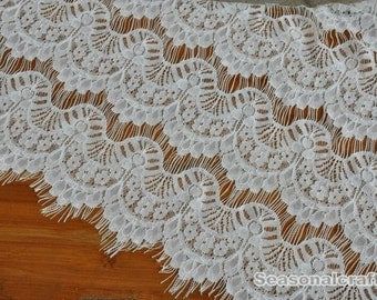 1 yard White eyelashes paragraph clothing lace fabric, Embroidery,Wedding,White Color,Polyester Mesh,Cotton fabric (W122)