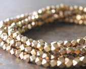 Indore Antique Brass Medium Cornerless Cube Beads - 5mm Spacers - Sparkly Faceted Beads - Half Strand or Whole Strands Available