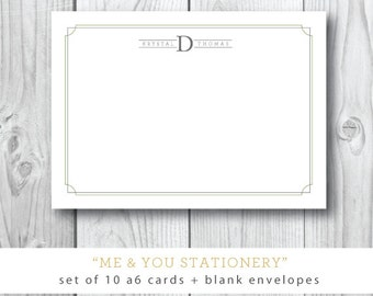 SET of 10 Flat 4x6 Printed Stationery with Blank Envelopes | Me and You Stationery | Printed by Darby Cards