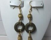 Lightweight Olive Green Wood Earrings on Gold Fishhooks. Pea Green. Avocado Green. OOAK Earrings. Handmade in USA. Rustic. Organic