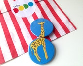 Giraffe Badges by hello DODO, pin back button badge, animal button, giraffe button, zoo badge, kids badges, party bag fillers, funny pin