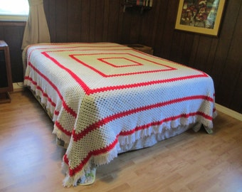 "Fund Raiser Handmade crocheted Blanket by Ladie's Aux of Missouri 100"" x 100"" red and white."