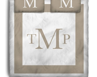 Custom Personalized Taupe Block font Bedding