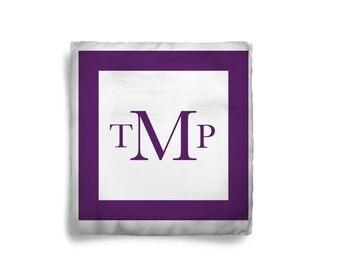 Custom Personalized Deep Purple Block Throw Pillow