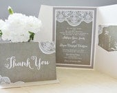 Burlap and lace invitation set