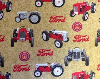 Ford Tractors and Logos Fabric, tan, sold by the yard