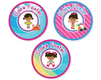 Stick On Clothing Labels, Beach Girl (Pick Your Hair and Skin Color)