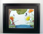 Colorful original pen and ink gnome drawing, Gnome fishing with butterflies and flowers. Fantasy art. Frame included