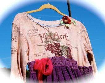 Boho Merlot Jumper Collage Tee  Rodeo Sweetheart Flower Child Festival Wear Coachella Unique Womens Clothing