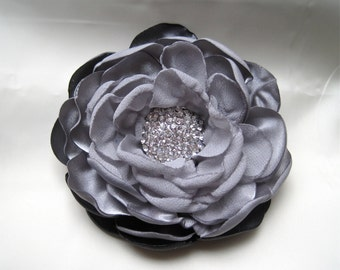 Beautiful Shades of Grey Satin and Chiffon Bridal Flower Hair Clip Bridal Accessories Bride Bridesmaid Prom with Beautiful Rhinestone Accent