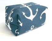 Navy Nautical Makeup Bag - Anchor Makeup Bag - Water Resistant Cosmetic Bag - Bridesmaid Gift