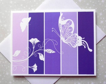 Royal Butterfly, Purple, Color Block Blank Cards 8ct