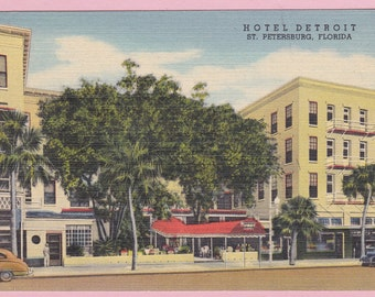 "Ca 1940's ""Hotel Detroit"" St Petersburg, FL LinenTopographical Picture Postcard - 1622"