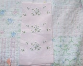 Vintage Pink Linen Daisy Tea Guest Towel for bathroom or vanity