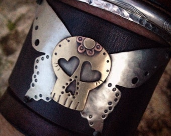 Handmade Leather Cuff Bracelet with Sugar Skull Wings