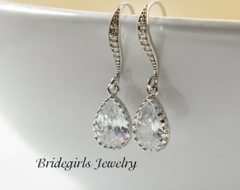 Bridesmaids Jewelry, Bridesmaids Earrings, Sparkly Cubic Zirconia Dangles, Wedding Jewelry, Weddings, Bridesmaids Gift, Bridal Message Card