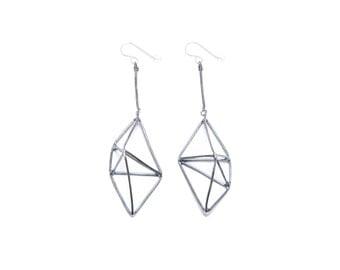 framed geo shape earrings // sterling silver