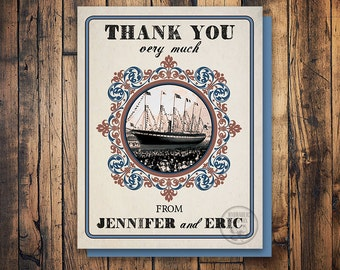 Vintage Nautical Wedding Thank You Card, Cruise Ship Card, Printable Thank You Card, Thank You Card for Wedding, Nautical Wedding Theme