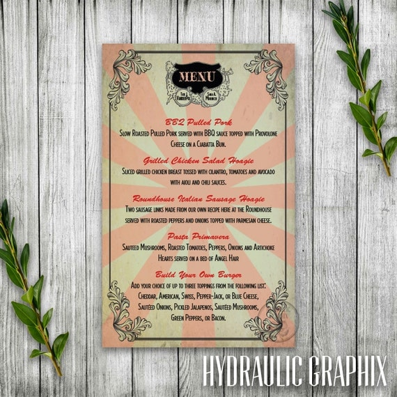 Wedding Reception Dinner Menu for vintage circus theme