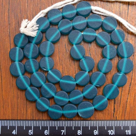 Resin beads 10mm coin Teal 1 x strand approx 40 beads