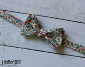 Tiny Floral Bow Tie~Mens Self Tie Bow Tie~Mens Pre Tied~Anniversary Gift~HoBo Ties~Cotton Bow Tie~Small Floral Tie~Blue Floral Bow Tie