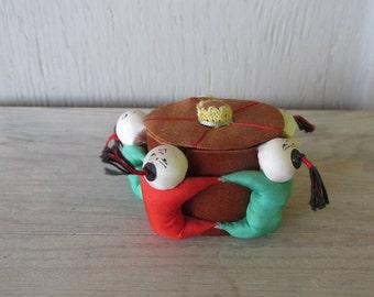 Vintage Chinese silk Pin Keep Pin Cushion dolls trinket box miniature Shabby Chic folk art